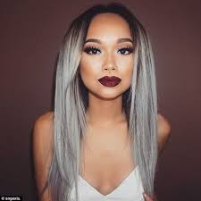 dark hair with grey models women embrace granny hair trend and post silver selfies on