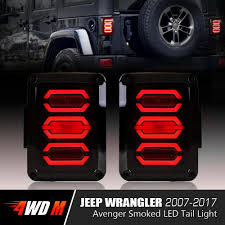 Led Lights For Jeeps Avenger Smoked Led Tail Lights For Jeep Wrangler Jk 2007 2017 Pair