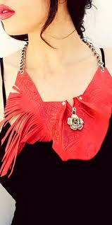 red leather necklace images Fringe feather leather scarf the odd portrait jpg