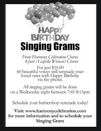 birthday singing grams hire us harmony celebration chorus