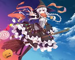 halloween anime pictures wallpaper anime witch halloween pumpkin braids white