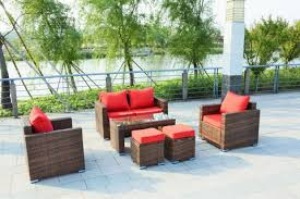Sectional Sofa Set Ensenada Sunbrella 6 Outdoor Wicker Patio Furniture