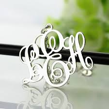 Monogrammed Necklace Personalized Vine Font Initial Monogram Necklace Silver