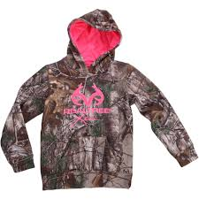 realtree and mossy oak girls camo performance pullover fleece