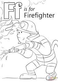 letter f is for firefighter coloring page free printable