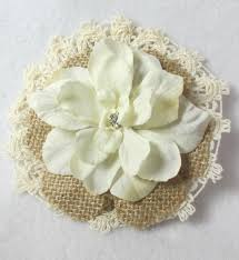 burlap flowers lace and burlap flower with hair clip and pin