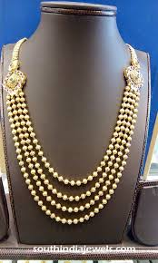 long gold ball necklace images Multilayer gold ball haram with side mogappu south india jewels jpg