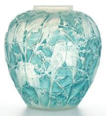 Lalique Vase With Birds Budgerigars In Glass