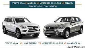 bmw x7 vs audi q7 volvo xc90 vs audi q7 vs mercedes gl class vs bmw x5 specs
