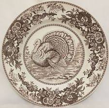 spode celebration 2 dinner plates turkey white brown thanksgiving