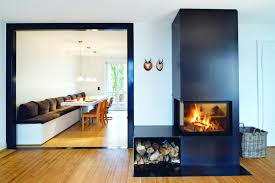 bold interior with maple wood floor also solid black central