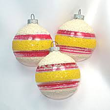 3 shiny brite mica stripes unsilvered wwii ornaments