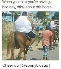 Funny Cheer Up Meme - when you think you re having a bad day think about this horse cheer