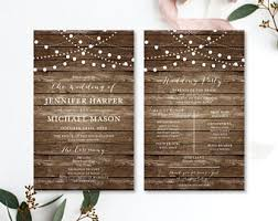 country wedding programs rustic wedding programs etsy