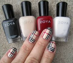 concrete and nail polish burberry plaid nails with zoya nail