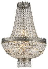 Basket Chandeliers French Empire 6 Light Antique Bronze Finish Clear Crystal Basket