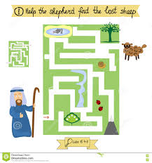 job for children complete the maze and find lost sheep sunday