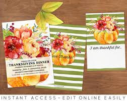 printable thanksgiving invitations watercolor autumn leaves