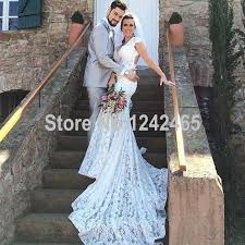 mermaid v neck lace backless wedding dresses long cap sleeve