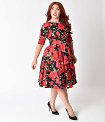 Red Cocktail Dress Plus Size 1950s Plus Size Dresses Clothing Pinup Fashion