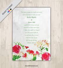 watercolor floral wedding invitation vector graphics 123freevectors