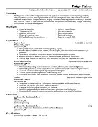 Mba Finance Resume Sample by Fascinating Financial Resume 1 8 Amazing Finance Resume Examples