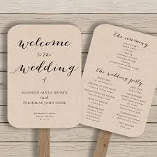 wedding ceremony fans wedding program fan template printable rustic wedding fan