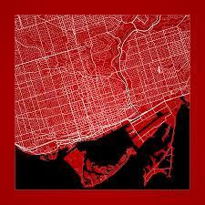 Map Toronto Canada by Toronto Street Map Toronto Canada Road Map Art On Color Digital
