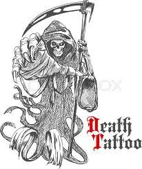 terrible grim reaper or death with scythe character sketch of
