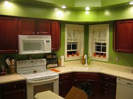 Cherry Wood Kitchen Cabinets Kitchen L Shape Kitchen Decoration Using Light Green Kitchen