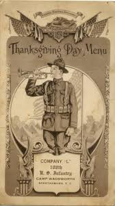 world war one library thanksgiving 1918 menu for company l dinner
