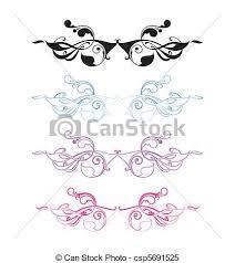 clipart vector of nouveau ornament set with four variations