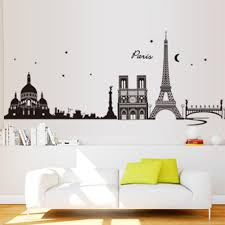 romantic paris city view diy wall sticke wallpaper art decor mural