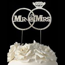 bling cake toppers gorgeous mr mrs real rhinestone rings wedding cake topper
