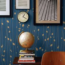 leaves navy peel u0026 stick fabric wallpaper repositionable