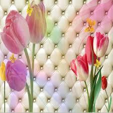 wallpaper bunga tulip beibehang custom foto wallpaper stereo romantic room wedding ruang