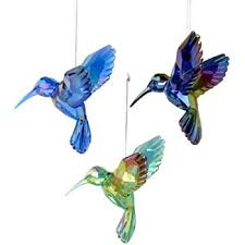 hummingbird glass ornaments with glitter accents set