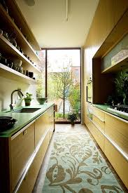 Galley Kitchen Rugs Furniture Green Themed Galley Kitchen With Area Rug And Floor To