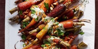 orange carrots with yogurt parsley dressing