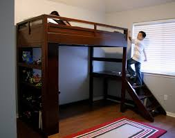 Wooden Bunk Bed With Stairs Brown Wooden Loft Bed With Stairs And Racks On Brown Wooden