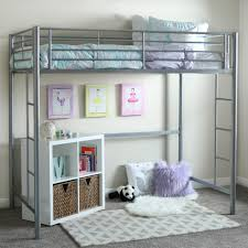 black metal twin loft bed with desk amazon com we furniture twin metal loft bed silver kitchen dining