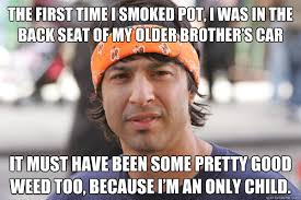 Only Child Meme - the first time i smoked pot i was in the back seat of my older