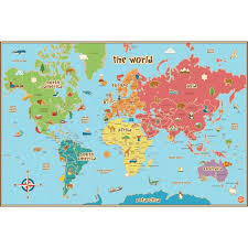 Decorative World Map Kids World Dry Erase Map Decal Wallpops For Kids Wall Art