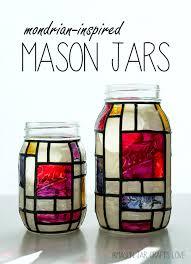 mondrian mason jars mason jar crafts mondrian and glass