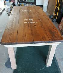 stained table top painted legs remodelaholic build a farmhouse table for under 100