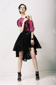 glamorous clothing tendency glamorous fashion model in modern clothes posing in