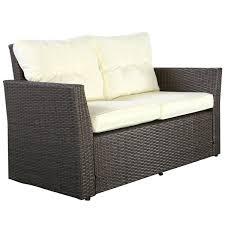 4pc rattan wicker sofa patio garden cushioned seat brown patio