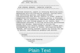 Sample Plain Text Resume by Plain Text Resume Reentrycorps