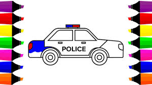 draw police car coloring pages learn colors kids