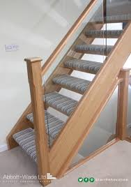 open tread staircase with striped carpet roofspace conversion